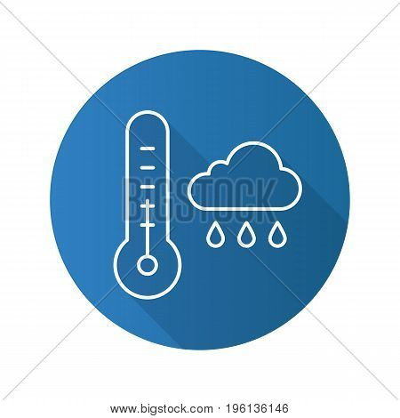 Autumn weather flat linear long shadow icon. Thermometer and rainy cloud. Vector outline symbol