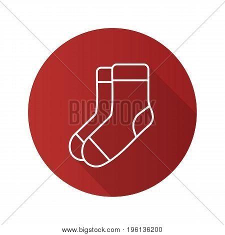 Warm socks flat linear long shadow icon. Vector outline symbol