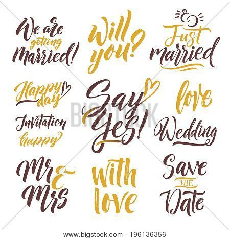 Save the date. Hand drawn letters. Lettering set with different words of invitation. Calligraphy lettering word love and wedding. Vector illustration