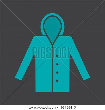 Raincoat glyph color icon. Hoody. Waterproof coat. Silhouette symbol on black background. Negative space. Vector illustration