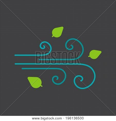Wind blowing glyph color icon. Windy weather. Silhouette symbol on black background. Negative space. Vector illustration
