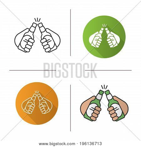 Toasting beer bottles in hands icon. Flat design, linear and color styles. Two beer bottles. Pub and bar sign. Cheers isolated vector illustrations