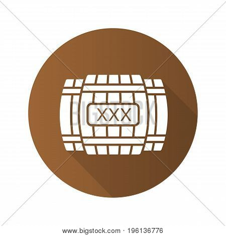 Alcohol wooden barrels flat design long shadow glyph icon. Whiskey or rum barrels with xxx sign. Vector silhouette illustration