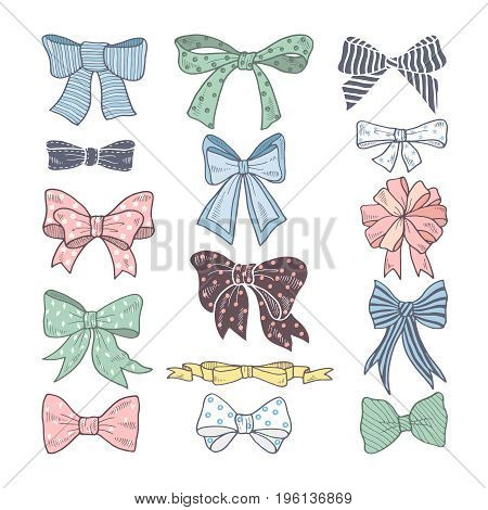 Retro bows. Beauty kit of woman accessories. Ribbons vector illustrations isolated. Color ribbon bow textile for decoration gift