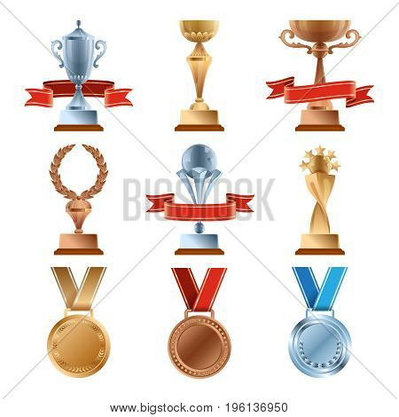 Different trophy set. Championship gold award. Golden, bronze and silver medal and cups of winners. Award and victory, illustration of winner cup and medal