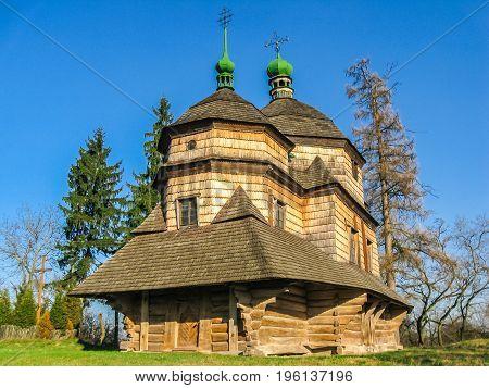 18th century wooden church of the Saint Archangel Michael in Komarno Ukraine