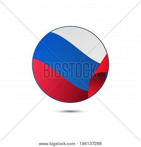 Russia flag button on a white background. Vector illustration.