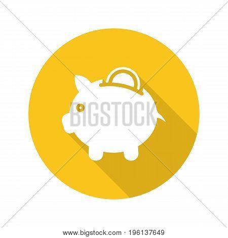 Piggybank flat design long shadow glyph icon. Piggy bank with coin. Vector silhouette illustration