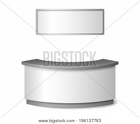 Blank White reception mockup. Round information desk or exhibition counter illustration isolated on white background. 3d reception vector illustration EPS 10.