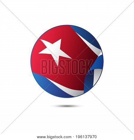 Cuba flag button on a white background. Vector illustration.