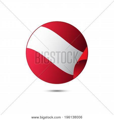 Austria flag button on a white background. Vector illustration.
