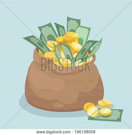 Vector bag with gold coins and banknotes. Flat style