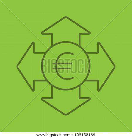 Money spending color linear icon. Euro currency with all direction arrows. Expanses. Thin line outline symbols on color background. Vector illustration