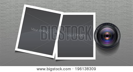 Photo frames collage vector illustration. Background with realistic lens and two photo frames composition