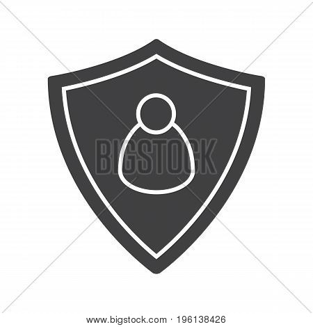 User security glyph icon. Silhouette symbol. Protection shield with man figure. Negative space. Vector isolated illustration