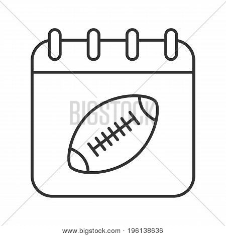 Super Bowl date linear icon. Thin line illustration. Calendar page with american football ball contour symbol. Vector isolated outline drawing
