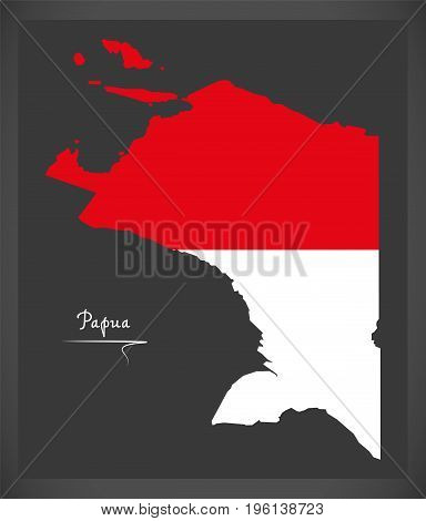 Papua Indonesia Map With Indonesian National Flag Illustration