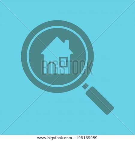 Real estate search glyph color icon. Silhouette symbol. Find house for rent. Magnifying glass with home. Negative space. Vector isolated illustration