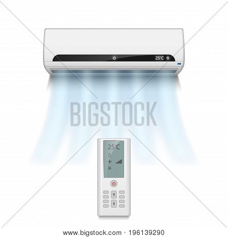 Realistic air conditioner isolated on white with cold air symbols. Modern air conditioner with remote control vector illustration EPS 10