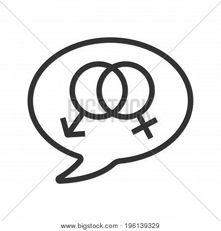 Talk about sex linear icon. Thin line illustration. Chat box with interlocked man and woman signs inside. Contour symbol. Vector isolated outline drawing