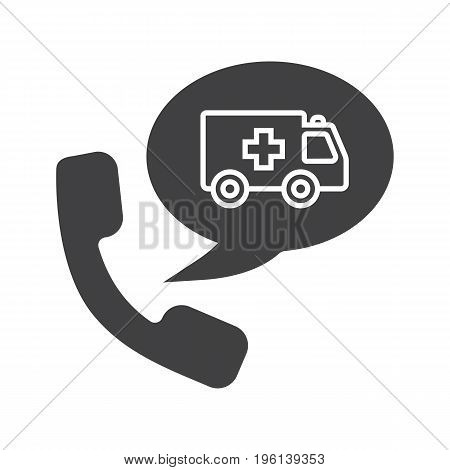 Phone call to ambulance glyph icon. Silhouette symbol. Handset with emergency car inside chat box. Negative space. Vector isolated illustration