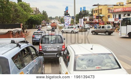 Goa India - February 01 2015: Traffic on Indian road