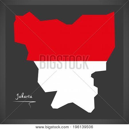 Jakarta Indonesia Map With Indonesian National Flag Illustration
