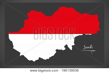 Jambi Indonesia Map With Indonesian National Flag Illustration
