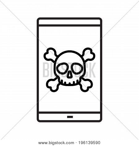 Smartphone virus linear icon. Death screen. Thin line illustration. Smart phone with skull and crossbones contour symbol. Vector isolated outline drawing