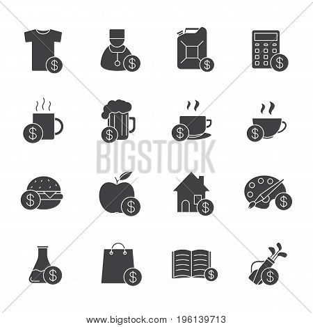 Commercial items glyph icons set. Silhouette symbols. Buy food, petrol, books, research, real estate, clothes, art and sport goods. Vector isolated illustration