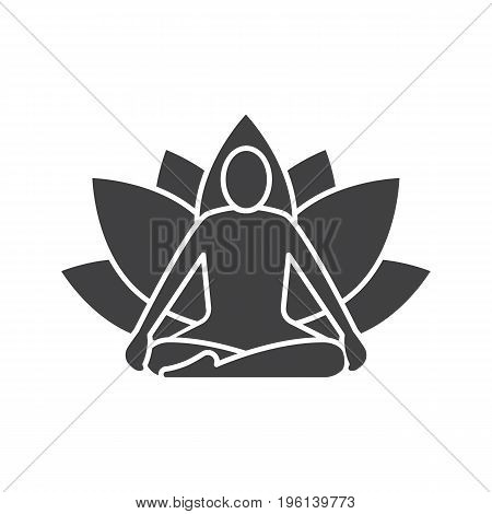Yoga position glyph icon. Silhouette symbol. Yoga class. Negative space. Vector isolated illustration