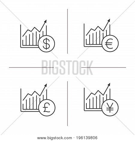 Market growth charts linear icons set. Statistics diagram with pound, dollar, euro, yen signs. Thin line contour symbols. Isolated vector outline illustrations