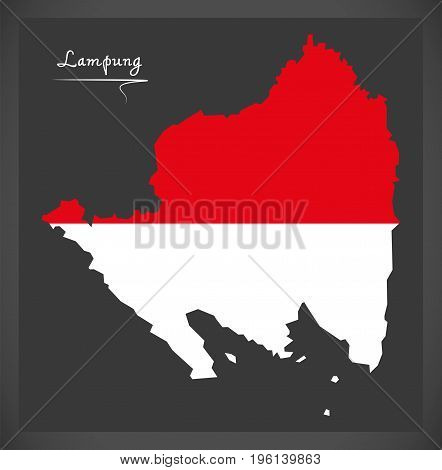 Lampung Indonesia Map With Indonesian National Flag Illustration