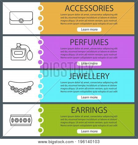 Women's accessories web banner templates set. Clutch bag, perfume, necklace, bracelet. Website color menu items with linear icons. Vector headers design concepts