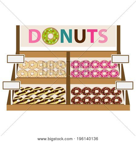 Showcase With Donuts, A Set Of Donuts