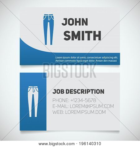 Business card print template with skinny jeans logo. Women's pants shop. Stationery design concept. Vector illustration