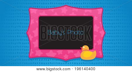 Photo frame collage with cute rubber duck vector illustration. Frame for placing photo of baby kid
