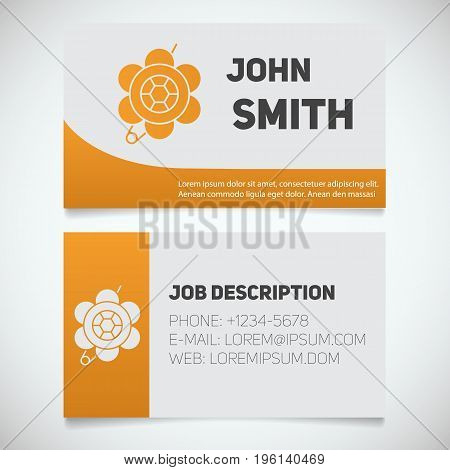Business card print template with brooch logo. Women's jewelry shop. Stationery design concept. Vector illustration