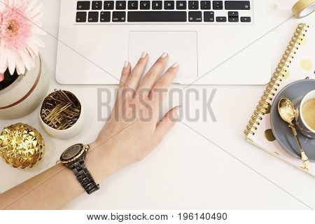 Feminine Workplace Concept. Freelance Fashion Comfortable Femininity Workspace In Flat Lay Style Wit