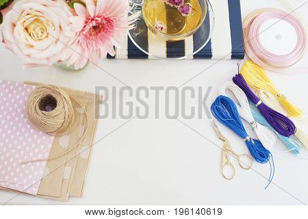 Handmade, Craft Concept. Materials For Making String Bracelets And Handmade Goods Packaging - Twine,