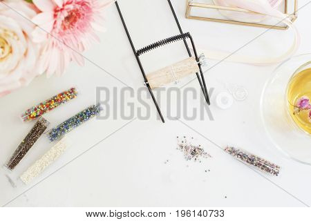 Handmade, Craft Concept. Materials For Handmade Jewelry Making. Seed Beads And Camp For Loom Bracele