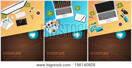 Set Banners Of Freelance Workplace Office, Co-working Centre, University Campus, Modern Workplace. D