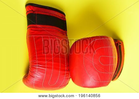 Boxing Gloves In Red And Black Color Made Of Leather