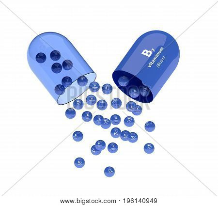 3D Rendering Of Vitamin B7 Pill With Granules