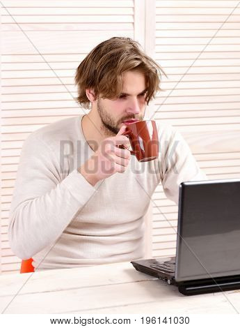 Man at his working place with gadget and tea cup in hand. Distance job and lunch break concept. Bearded man with mug on light striped background. Guy uses his laptop and drinks tea or coffee