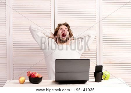 Guy yawns and sits near laptop and fruit. Home office and lunch break concept. Bearded man with apples in bowl and cellphone in cup on light striped background. Tired man at his work place with gadget