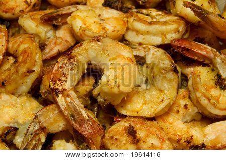 Garlic Shrimp Fried Close Up