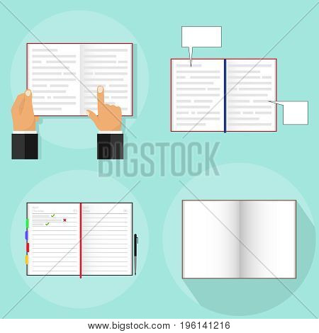 An open book a person reads an open book. Open notebook. Flat design vector illustration vector.