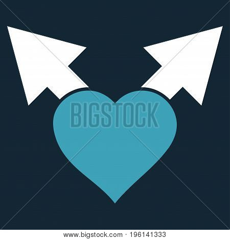 Love Variant Arrows flat icon. Vector bicolor blue and white symbol. Pictogram is isolated on a dark blue background. Trendy flat style illustration for web site design, logo, ads, apps,