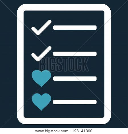 Lovely List Page flat icon. Vector bicolor blue and white symbol. Pictograph is isolated on a dark blue background. Trendy flat style illustration for web site design, logo, ads, apps, user interface.